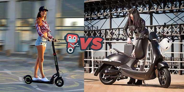 trottinette électrique Inokim Light et scooter électrique Sunra Grace en action